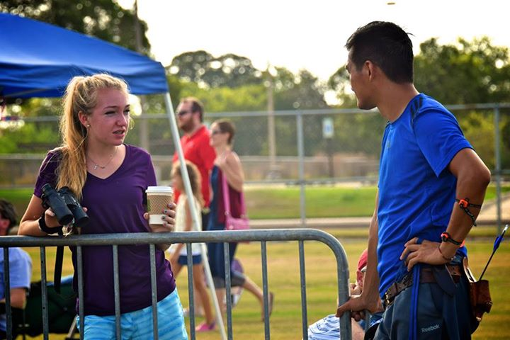 Katherine Marston and Coach Steve Sun between ends at the Texas Shootout.